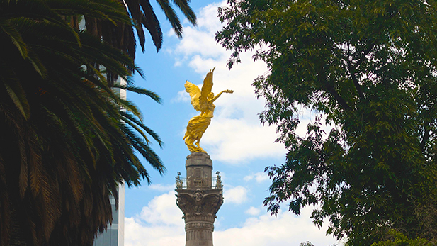 Angel statue at the Monument to Independence in Mexico City.