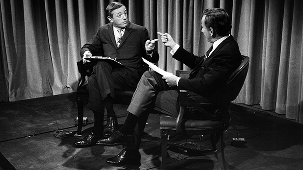 William F. Buckley, Jr. and Gore Vidal on an ABC News set during the 1968 conventions.