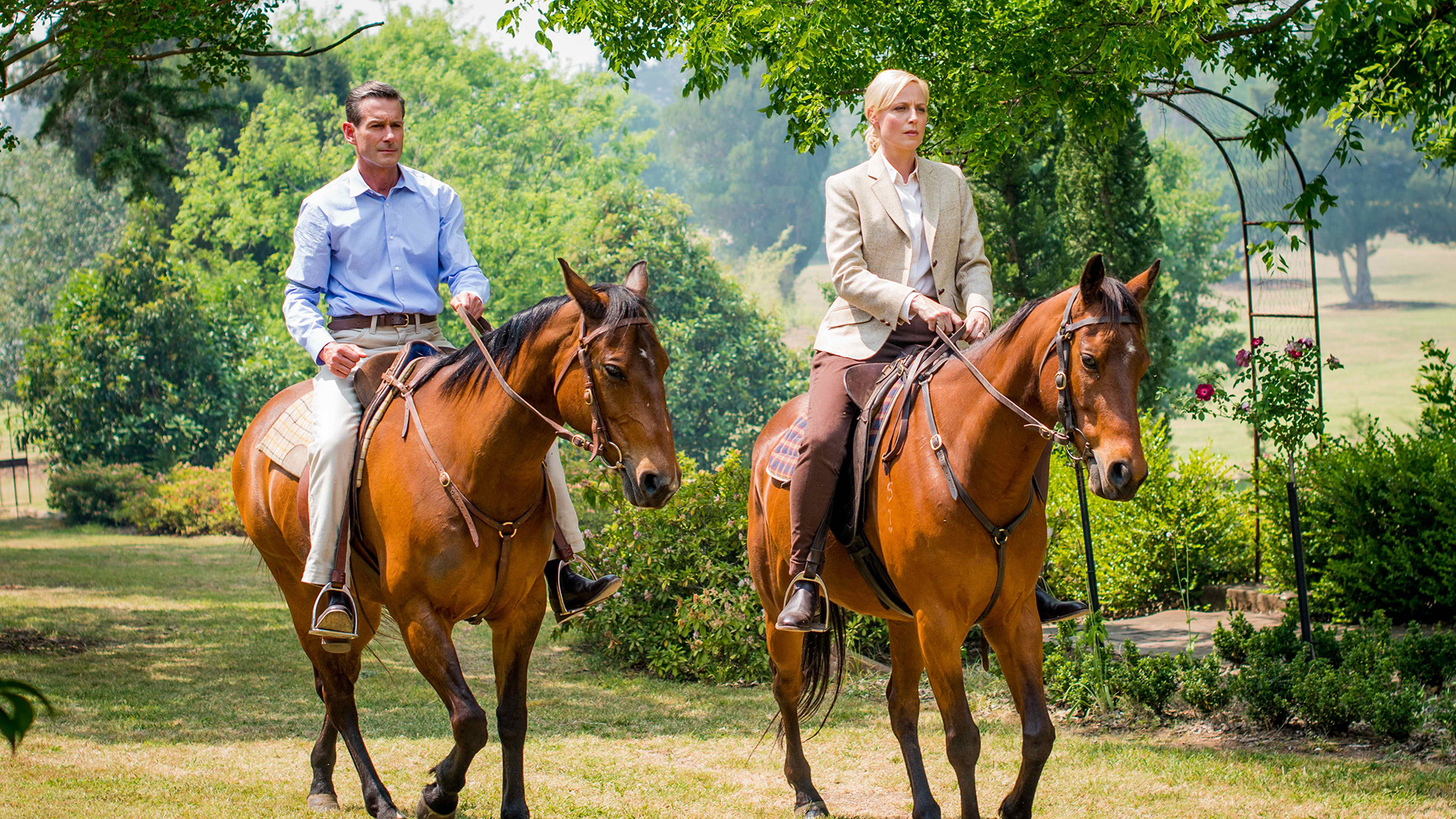 George Bligh (Brett Climo) and Sara Adams (Marta Dusseldorp) share a horse ride.