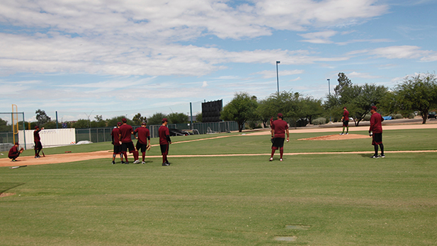 The Tomateros de Culiacán practice the day before the Mexican Baseball Fiesta gets underway.