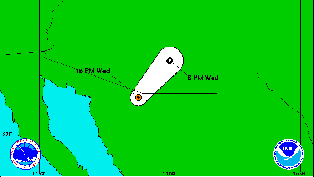 The predicted path for Post-Tropical Cyclone Newton as of 2pm Wednesday.