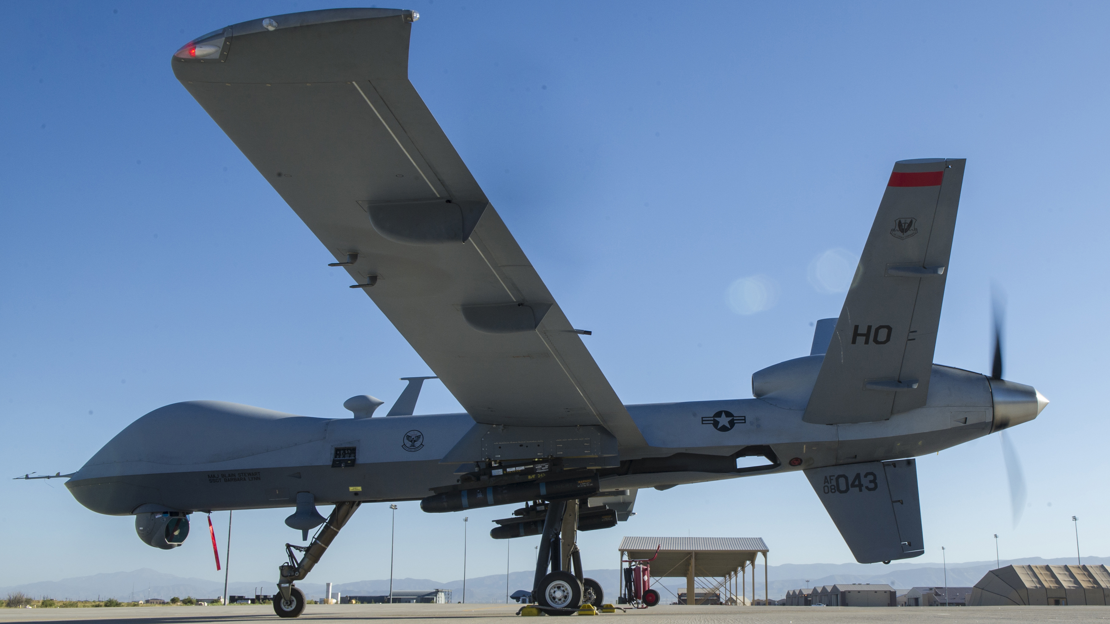 An MQ-9 Reaper readies for takeoff at Holloman, AFB in New Mexico.