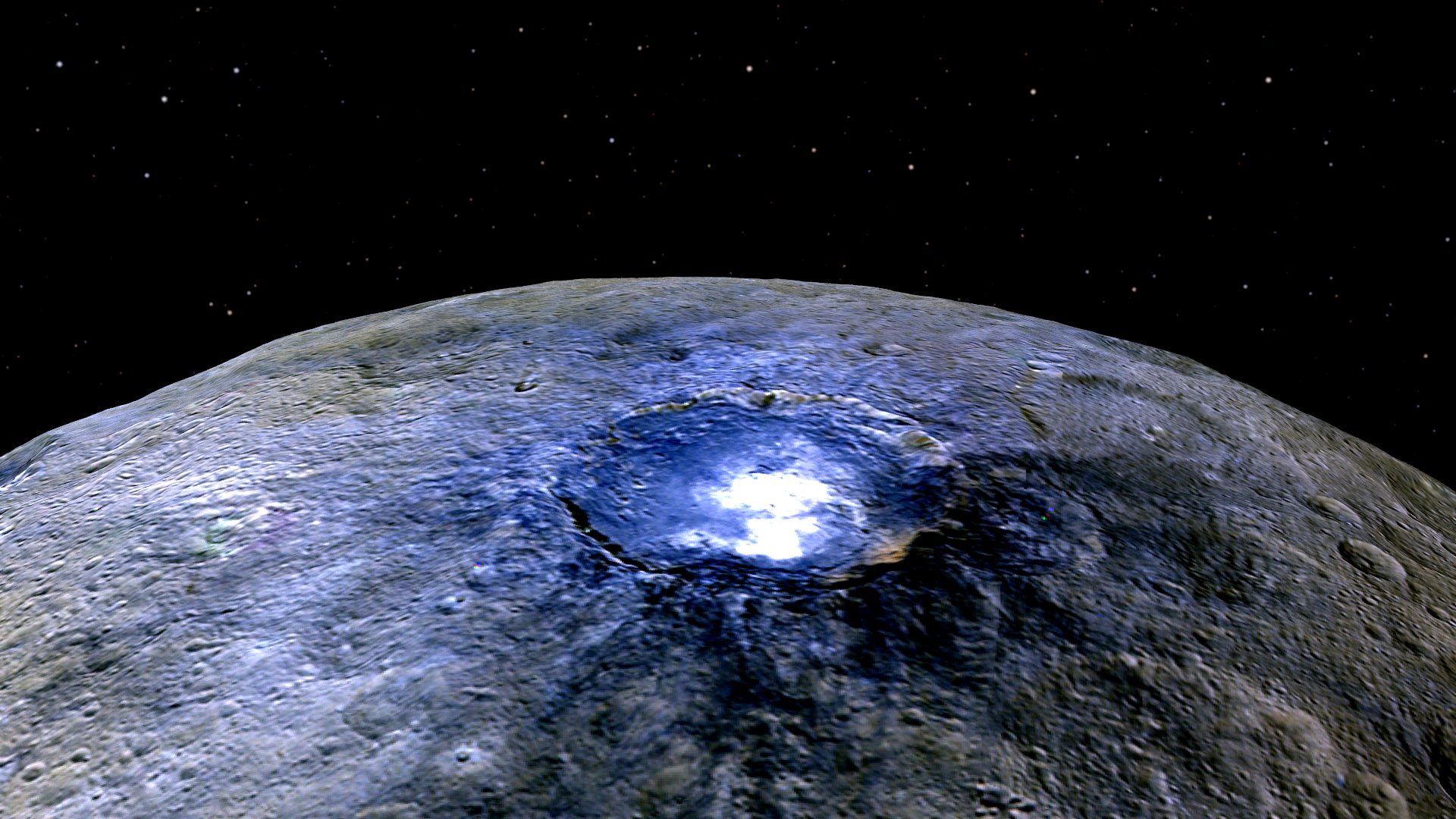 A representation of Ceres' Occator Crater in false colors shows differences in the surface composition.