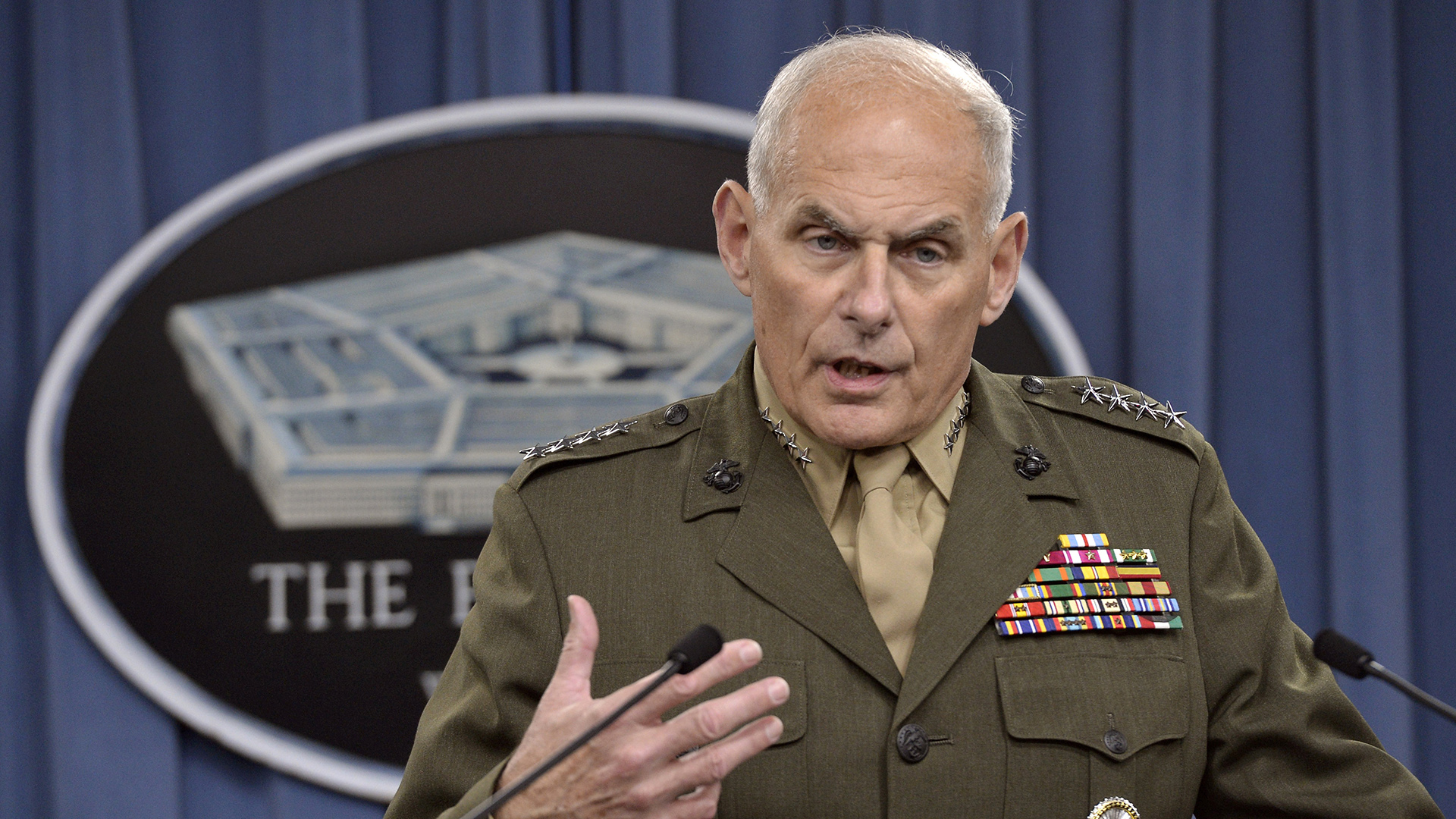Then-Marine Corps Gen. John F. Kelly in March 2014 discussing developments in his command's efforts to stem the flow of drugs from South and Central America.