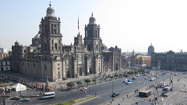 The cathedral in the Zócalo, or central plaza, of Mexico City.