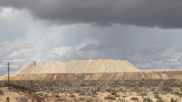 Tailings piles at the Asarco-owned Mission Mine Complex south of Tucson.