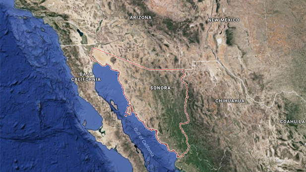 Google Maps image of the Southwest U.S.-Mexican border, with the Mexican state of Sonora highlighted.
