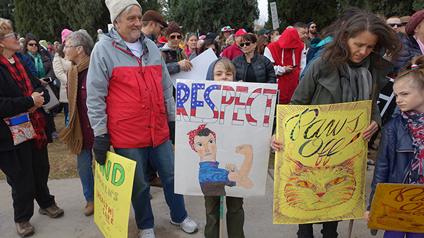 Marchers of all ages show off their signs at the Tucson Women's March, Jan. 21, 2017.