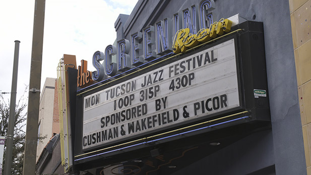 A marquee advertising the Tucson Jazz Festival.