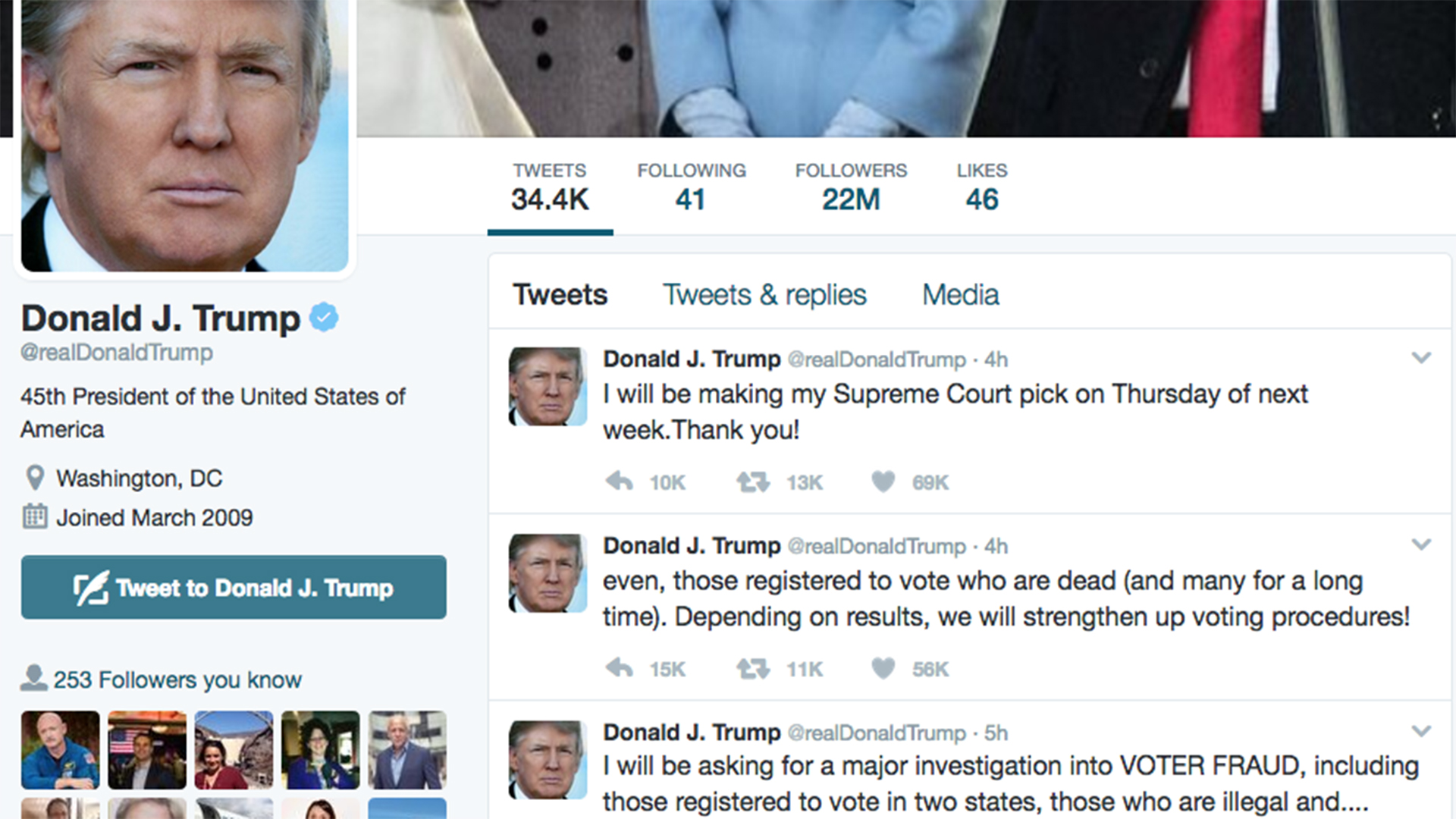 President Donald Trump sent out tweets about investigating voter fraud during the November 2016 election. January 25, 2017