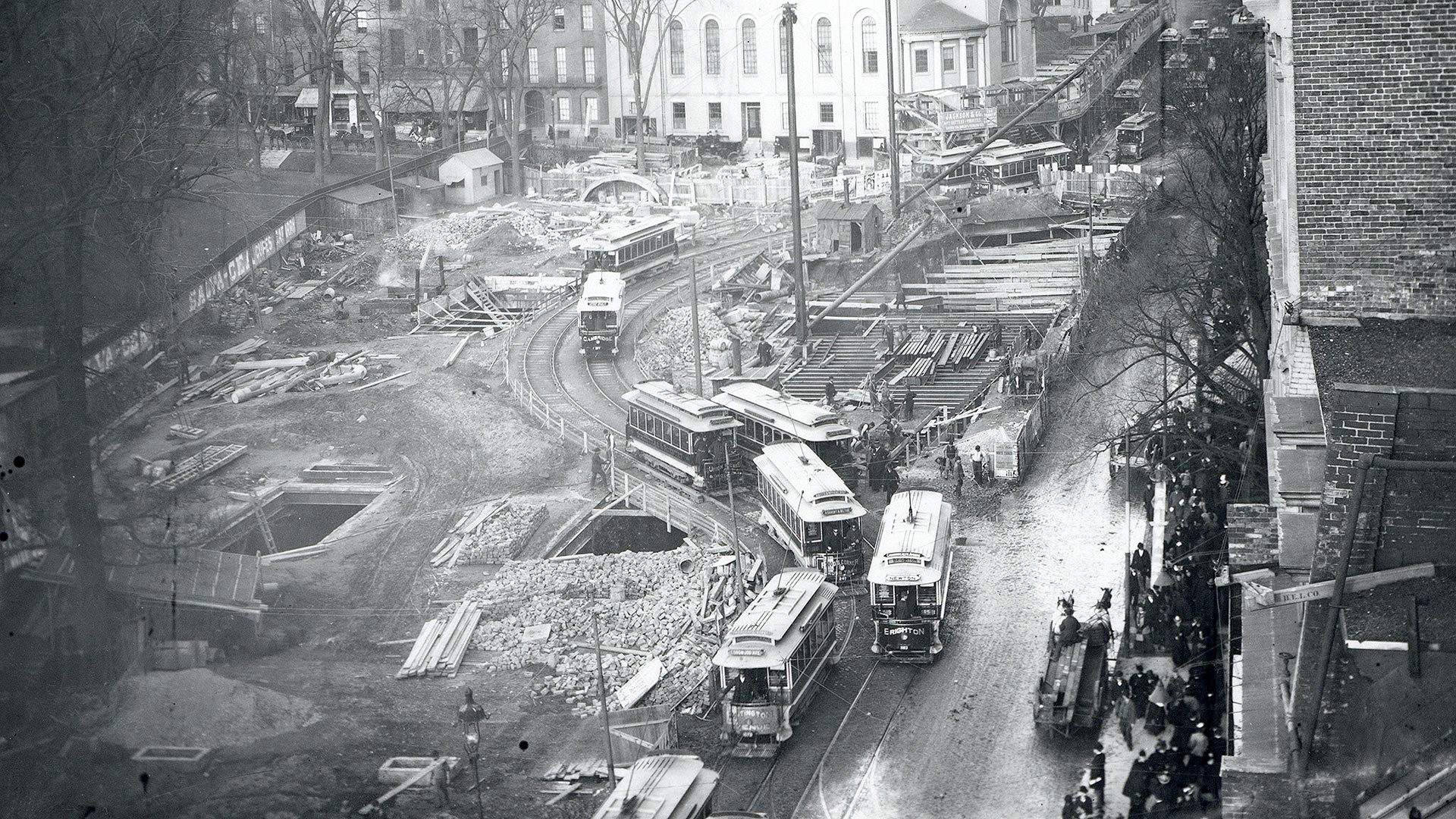 Birdseye view of construction at Tremont and Park Streets (November 1896)