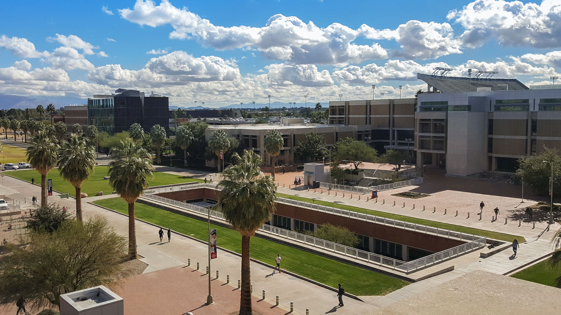 Looking down at the Integrated Learning Center on the campus of the University of Arizona.
