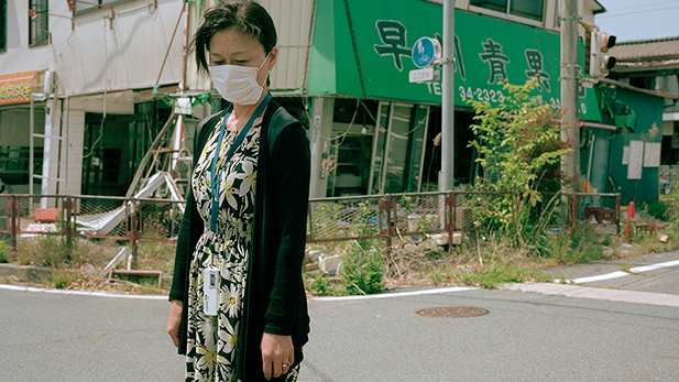 Mrs. S. in Namie, Japan, which was evacuated and remains uninhabited as a result of the Fukushima Daiichi nuclear disaster.