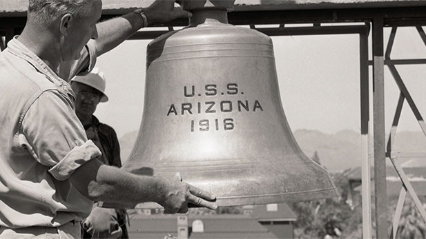 A file photo of the USS Arizona bell.
