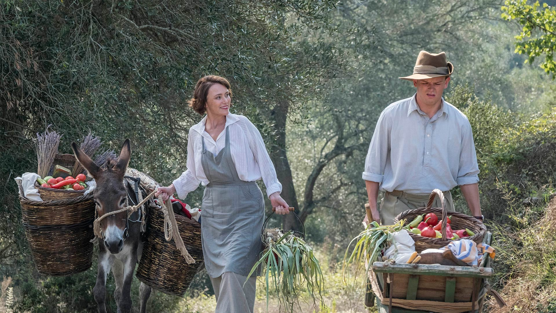 Shown from left to right: Keeley Hawes as Louisa Durrell and Callum Woodhouse as Leslie