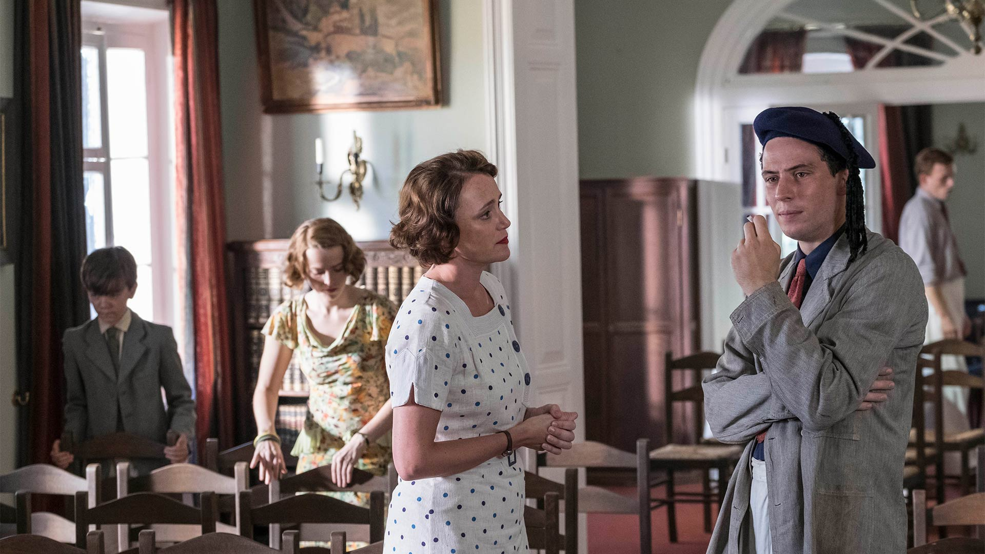 Keeley Hawes as Louisa Durrell and Josh O'Connor as Larry