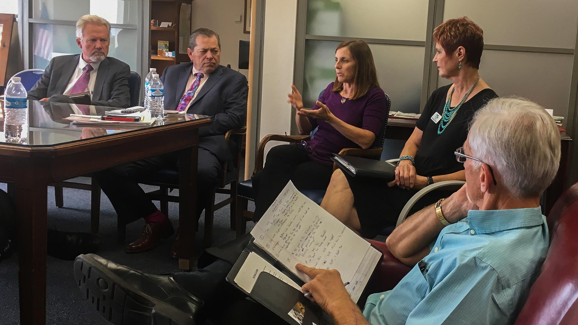 Republican Rep. Martha McSally meets with Southern Arizona business leaders in her Tucson office to talk about tax reform, Oct. 17, 2017