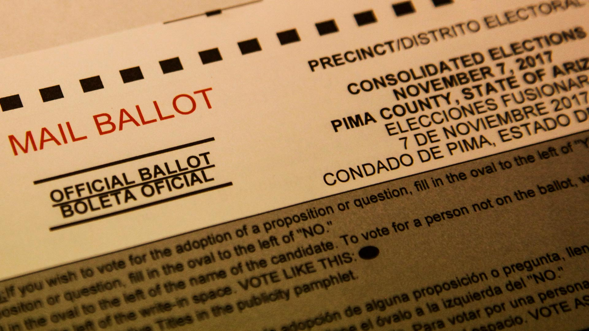 The ballot for a Nov. 7, 2017 Tucson election.
