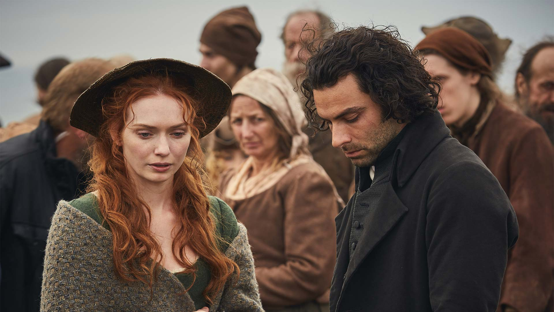Eleanor Tomlinson as Demelza Poldark and Aidan Turner as Ross Poldark