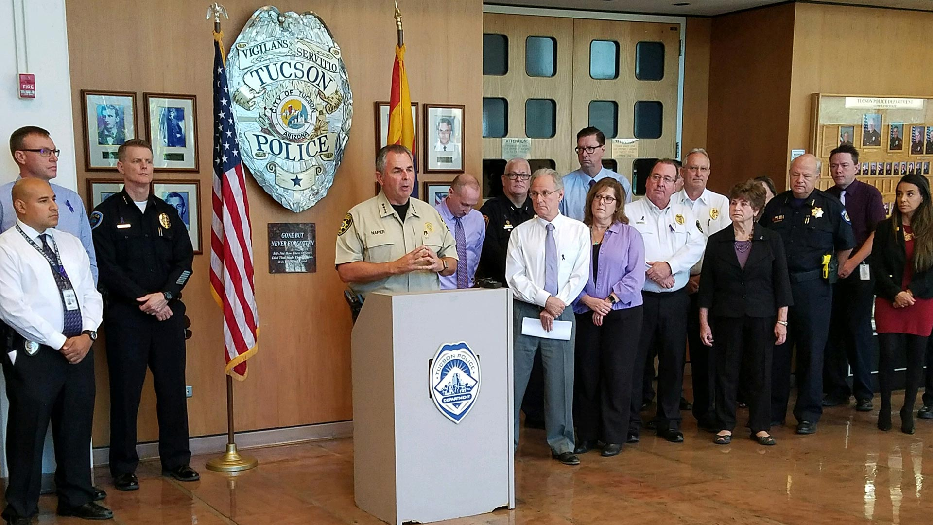Pima County Sheriff Mark Napier speaks at Tucson Police Department on South Stone Avenue.