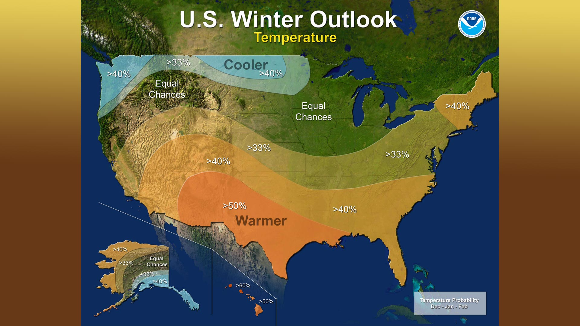 NOAA's 2017-18 winter temperature probabilities.