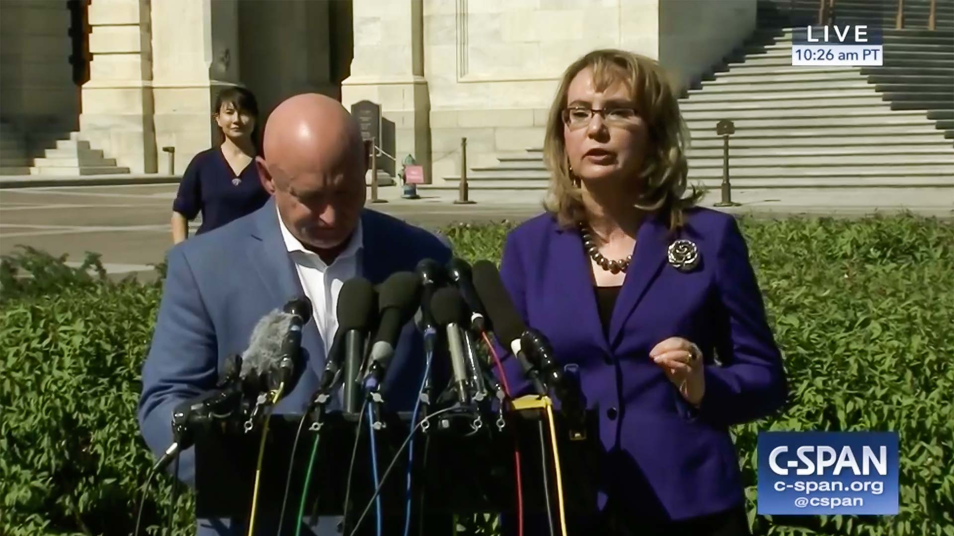 Retired astronaut Mark Kelly and former Congresswoman Gabrielle Giffords speak on gun control Oct. 2, 2017, the day after a mass shooting in Las Vegas.