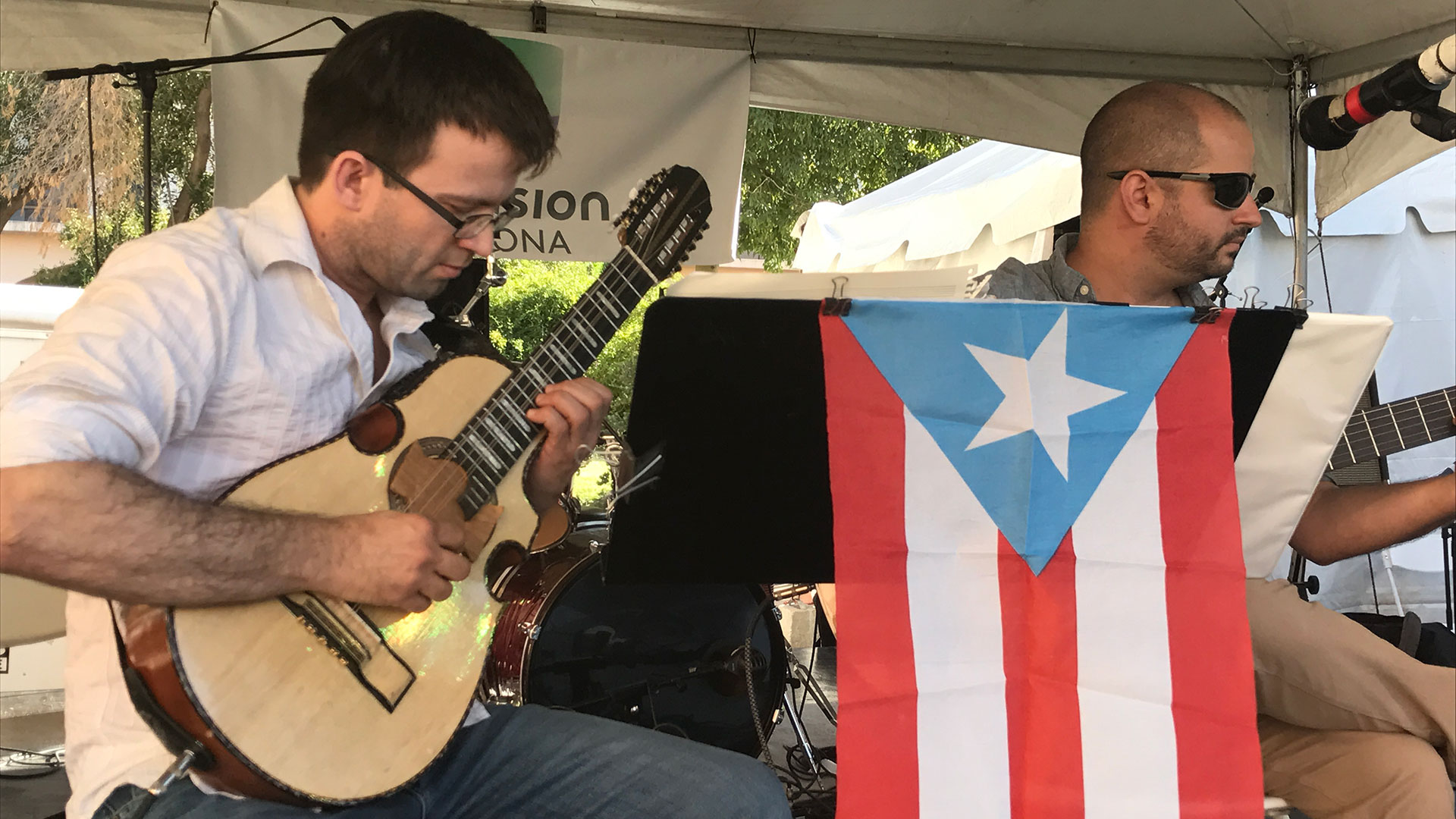Alexis Rivera and José Luis Puerta are members of Grupo Rikén, which plays traditional music from Puerto Rico and other places.