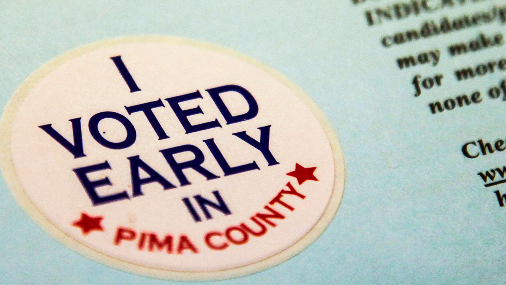 "An ""I voted early"" sticker in a Nov. 7, 2017 election package."
