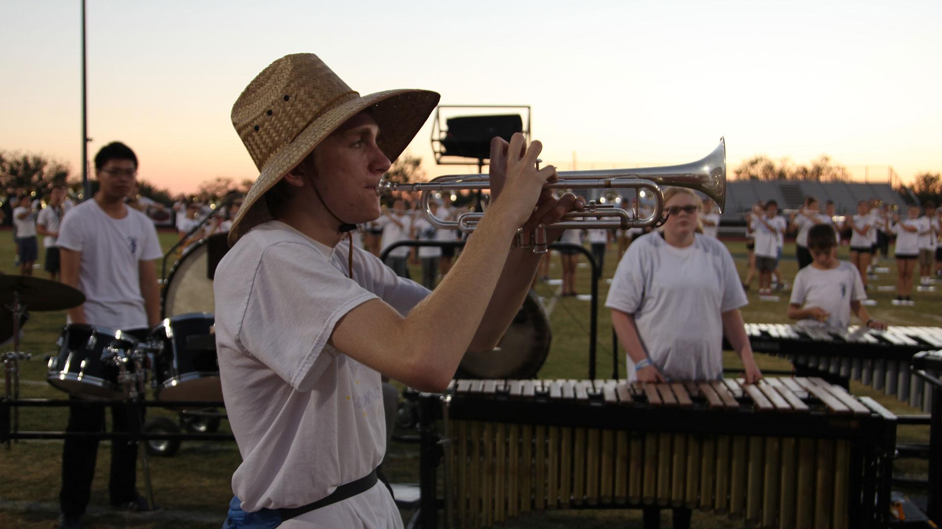 Falcons band student trumpet
