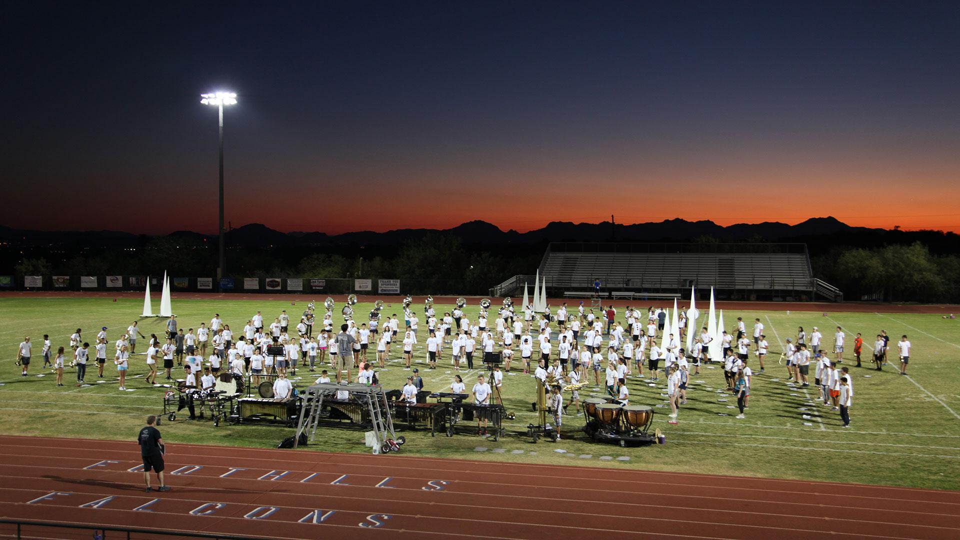 Falcons band field wide shot