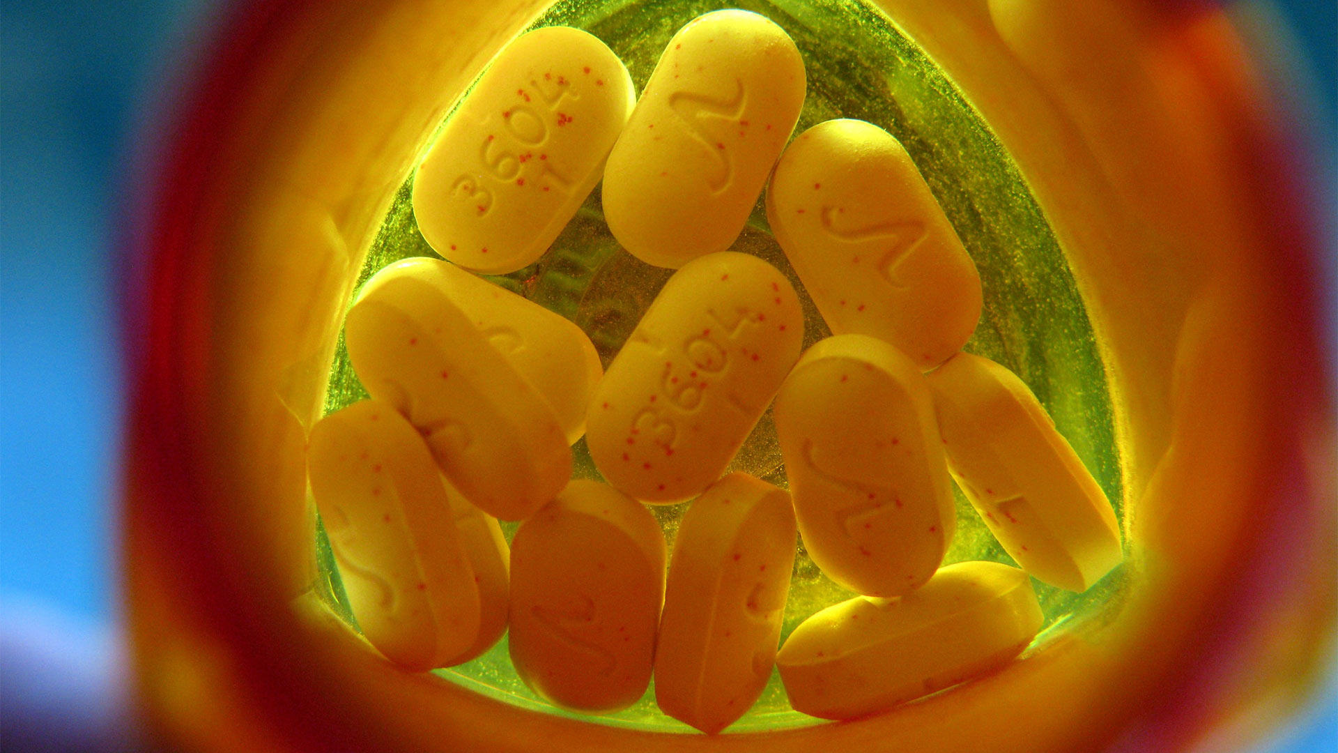 Opioids in a pill bottle