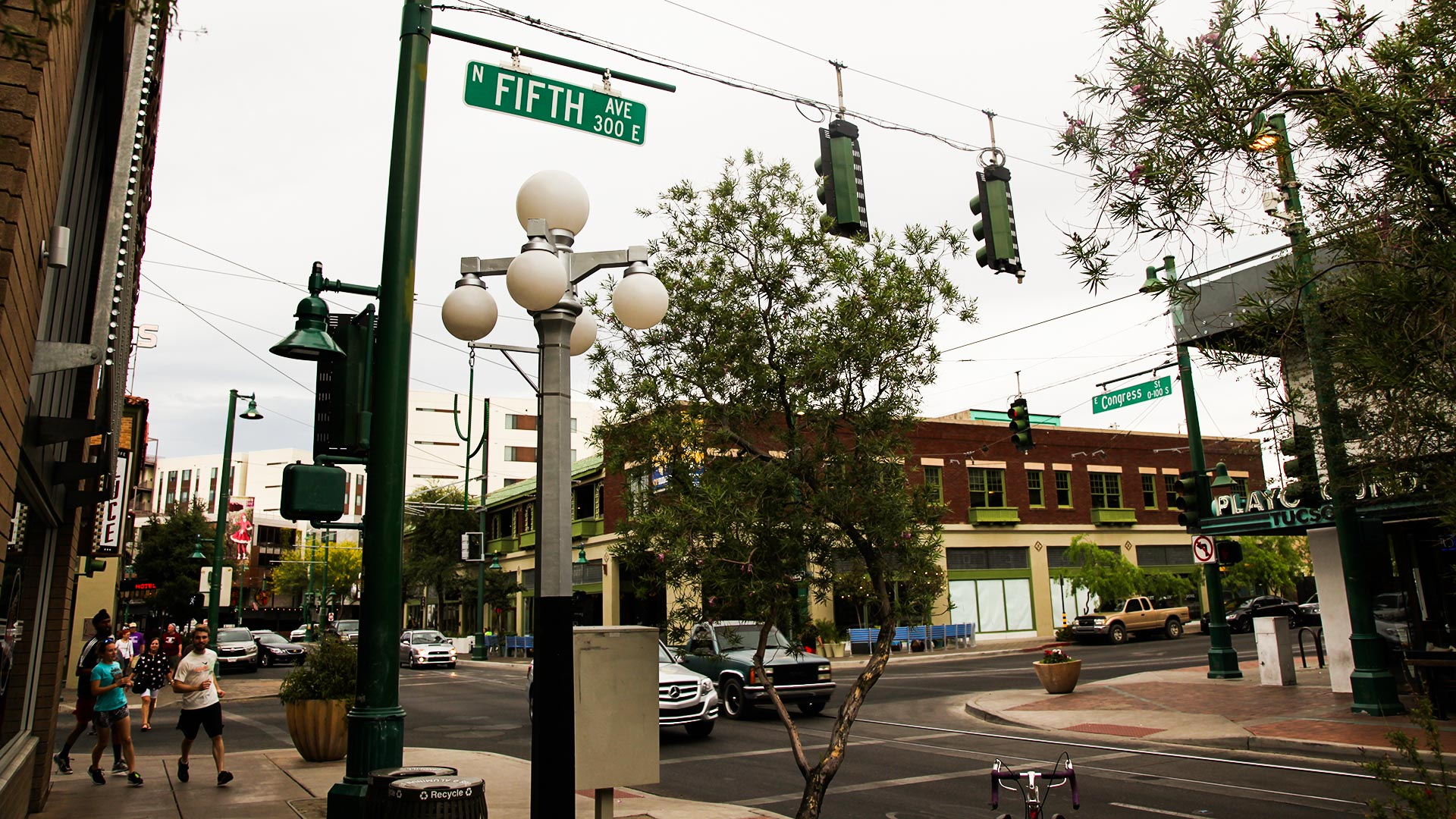 The intersection of Fifth Avenue and Congress Street in downtown Tucson, 2017.