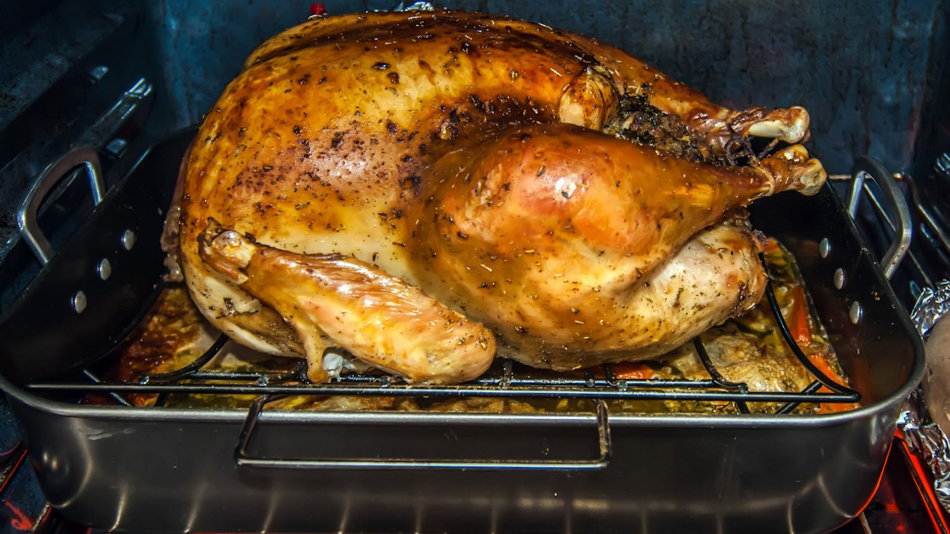 A roasting Thanksgiving Turkey.