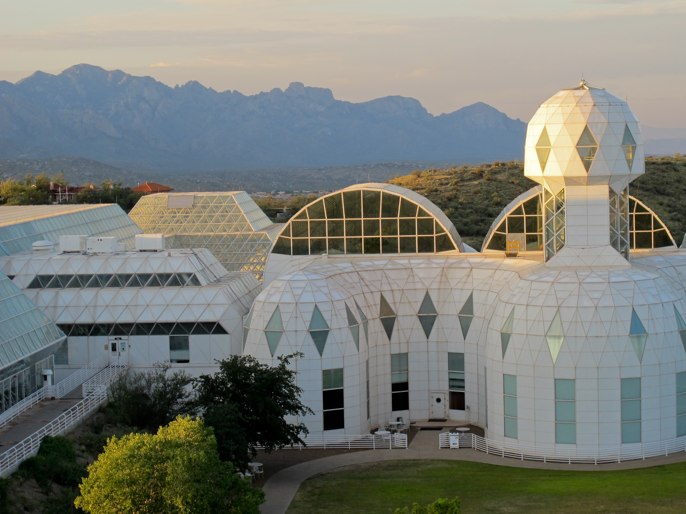 Sunset at the Biosphere 2 science and research facility north of Tucson