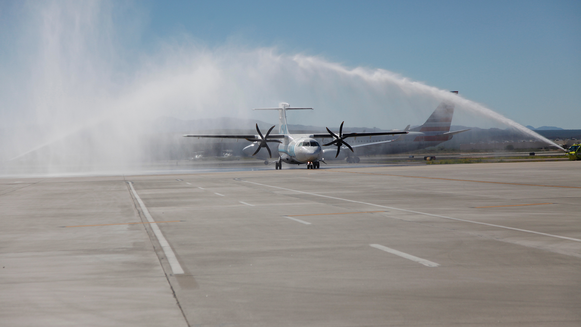 Fire crews at Tucson International Airport welcome the first arrival of a maiden flight at the airport.