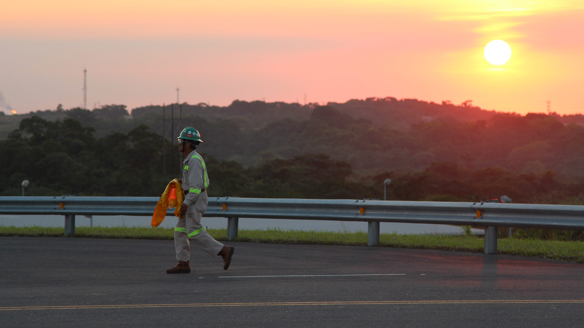 A worker leaves a petrochemical complex in Veracruz.