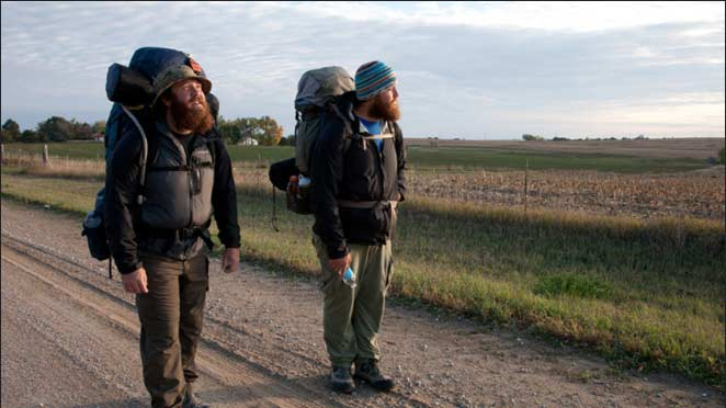 Ex-soldiers Tom Voss and Anthony Anderson, pictured leaving Wisconsin, as they embark on an epic journey across the country to heal from their time at war.