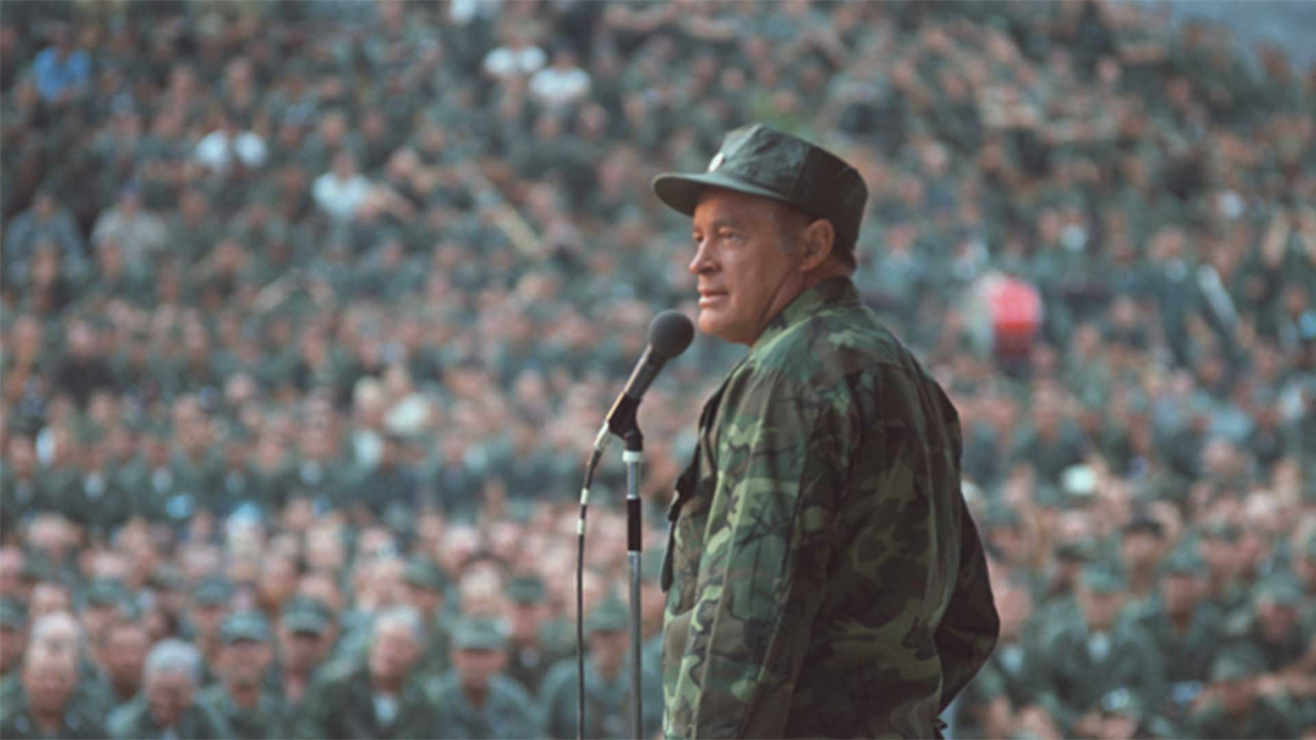 Bob Hope on stage entertaining the troops in Vietnam.