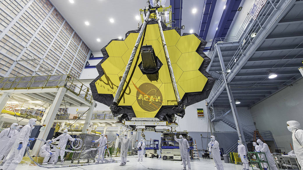 The James Webb Space Telescope in a clean room at NASA's Goddard Space Flight Center in Greenbelt, Maryland.