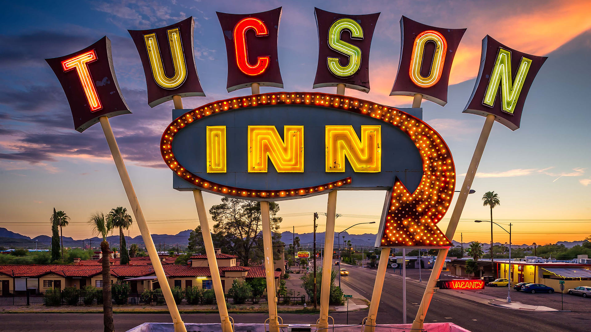 The iconic sign of the the Tucson Inn on Drachman Street.