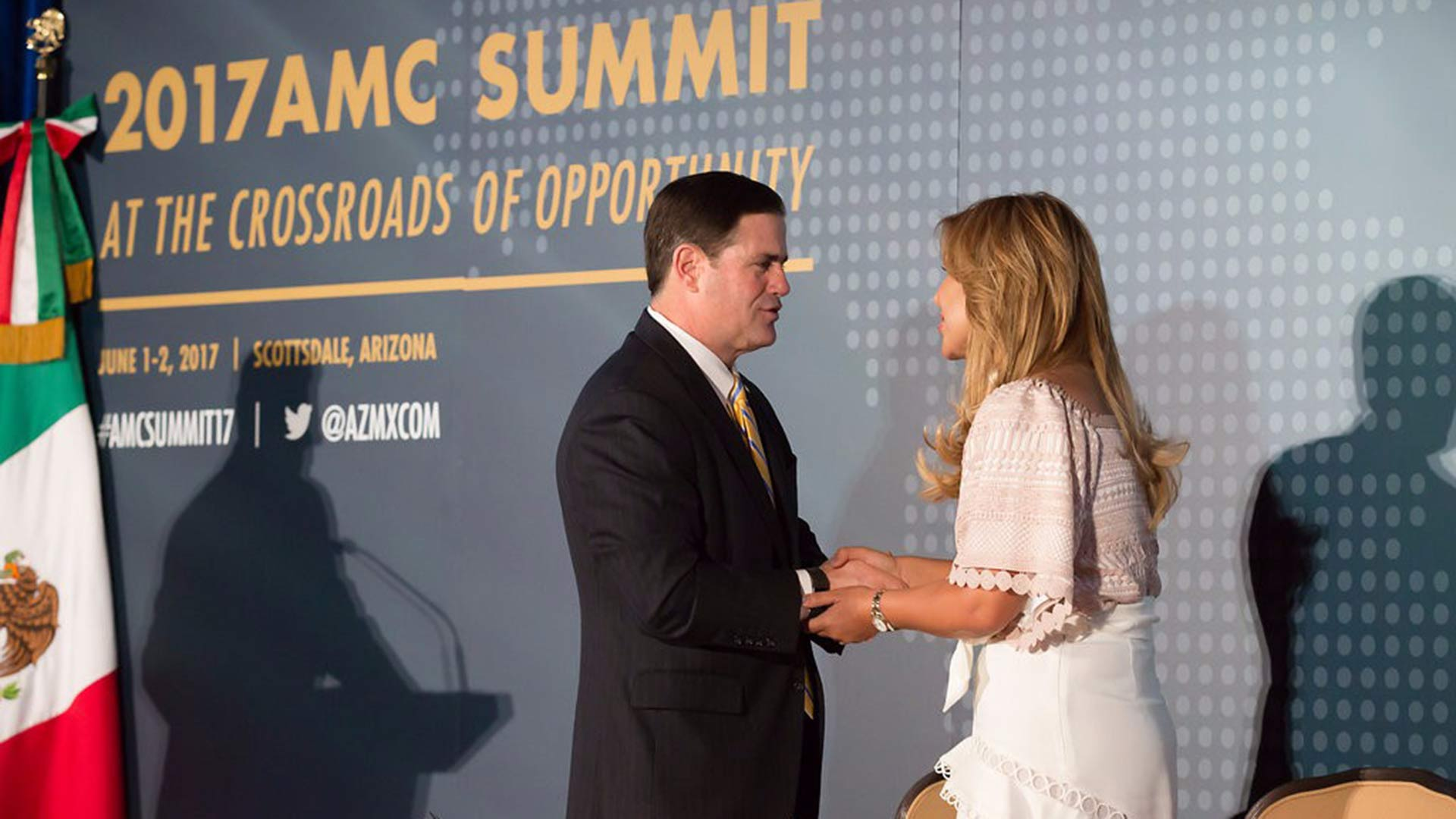 Arizona Gov. Doug Ducey and Sonoran Gov. Claudia Pavlovich at a June 2017 Arizona-Mexico Commission summit in Scottsdale, Arizona. The commission also met in November 2017 in Puerto Peñasco, Mexico.