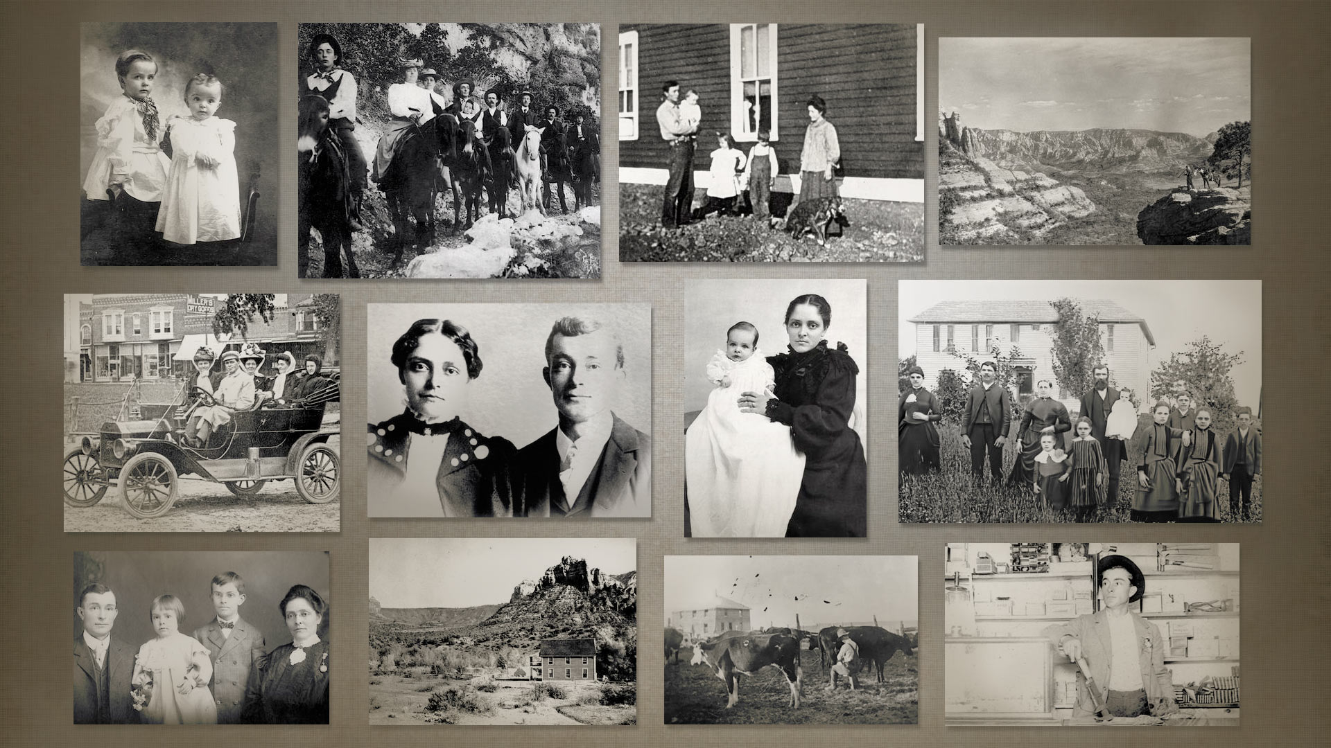 A collage of photos from the early 1900s of Sedona Arabella Miller Schnebly and her family, who were among the  earliest settlements in the region that now shares her first name.