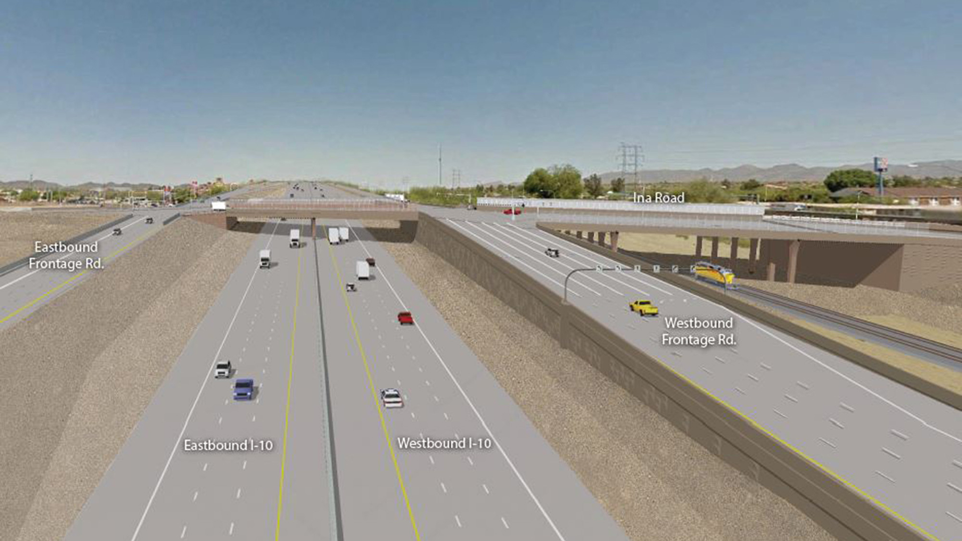 A rendering of what the new Ina Road and Interstate 10 interchange will look like when construction is complete.