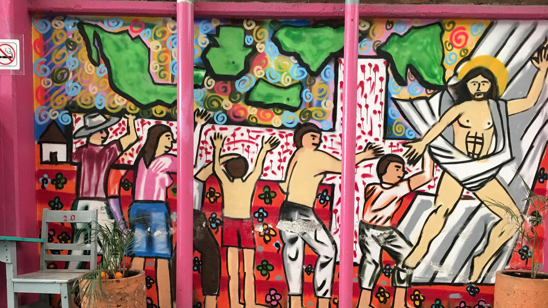 A mural at the Cafemin migrant shelter in Mexico City.