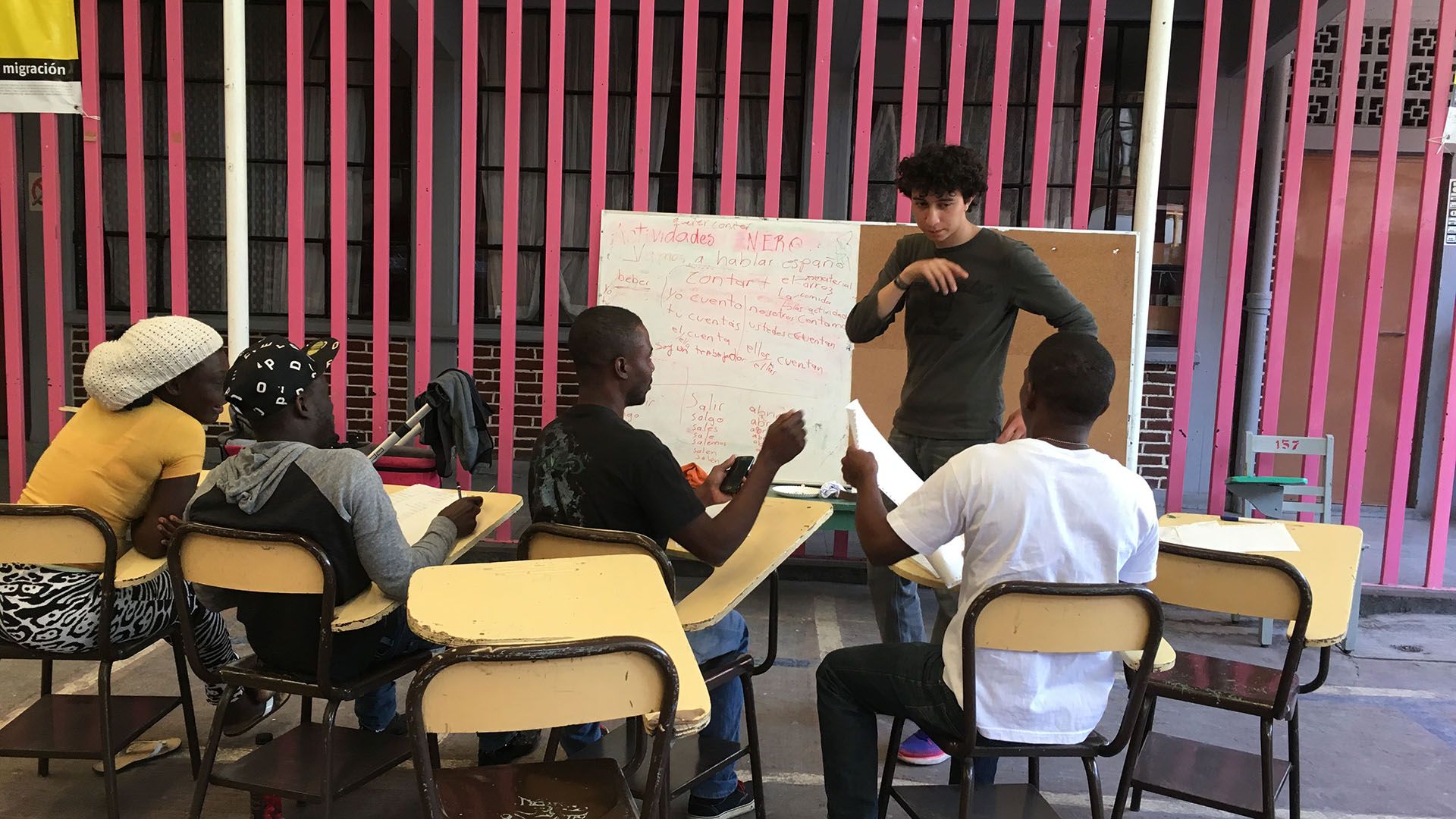 Spanish class migrant shelter hero
