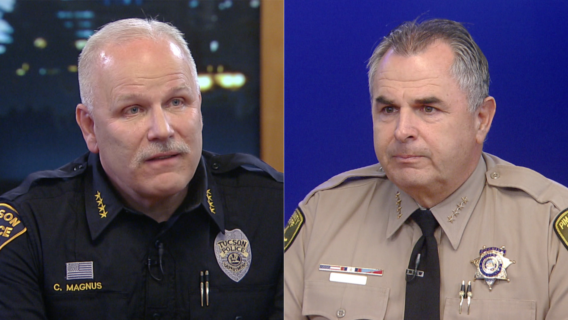 Tucson Police Chief Chris Magnus (left) and Pima County Sheriff Mark Napier, February 2016.