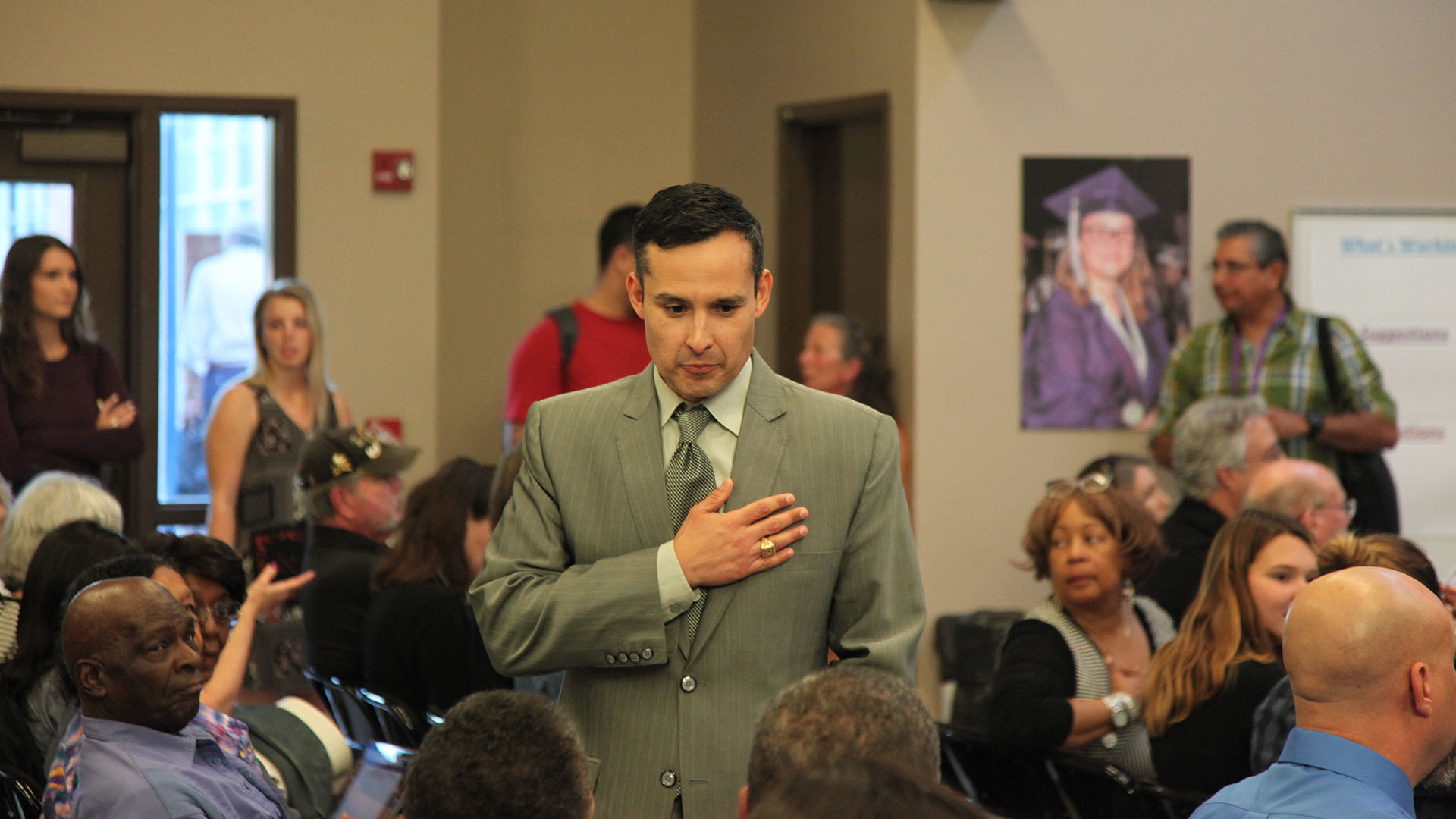 TUSD Superintendent H.T. Sanchez speaks with members of the public at a meeting of the district's Governing Board, Feb. 21, 2017.