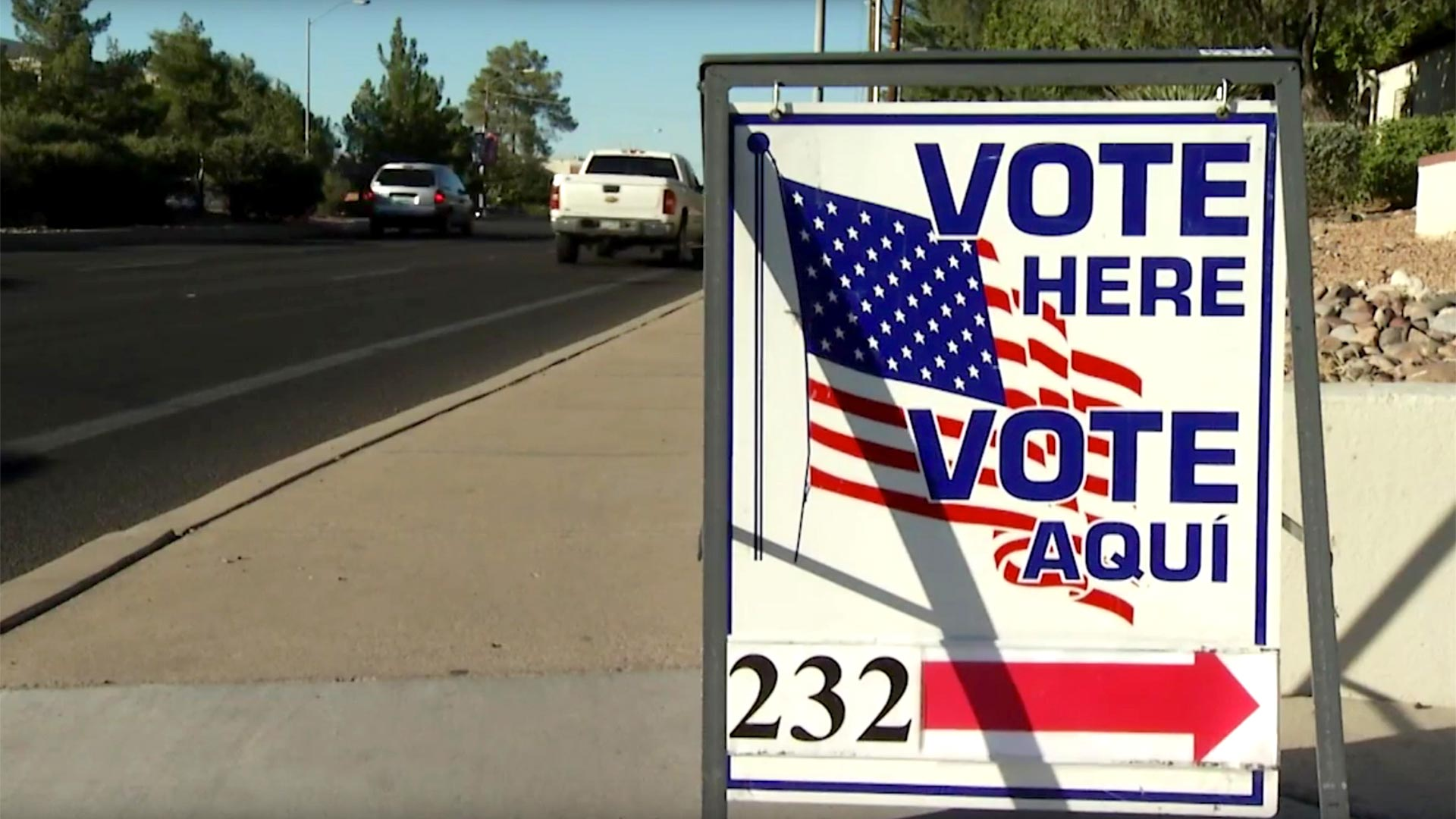 Vote Here street sign tucson hero