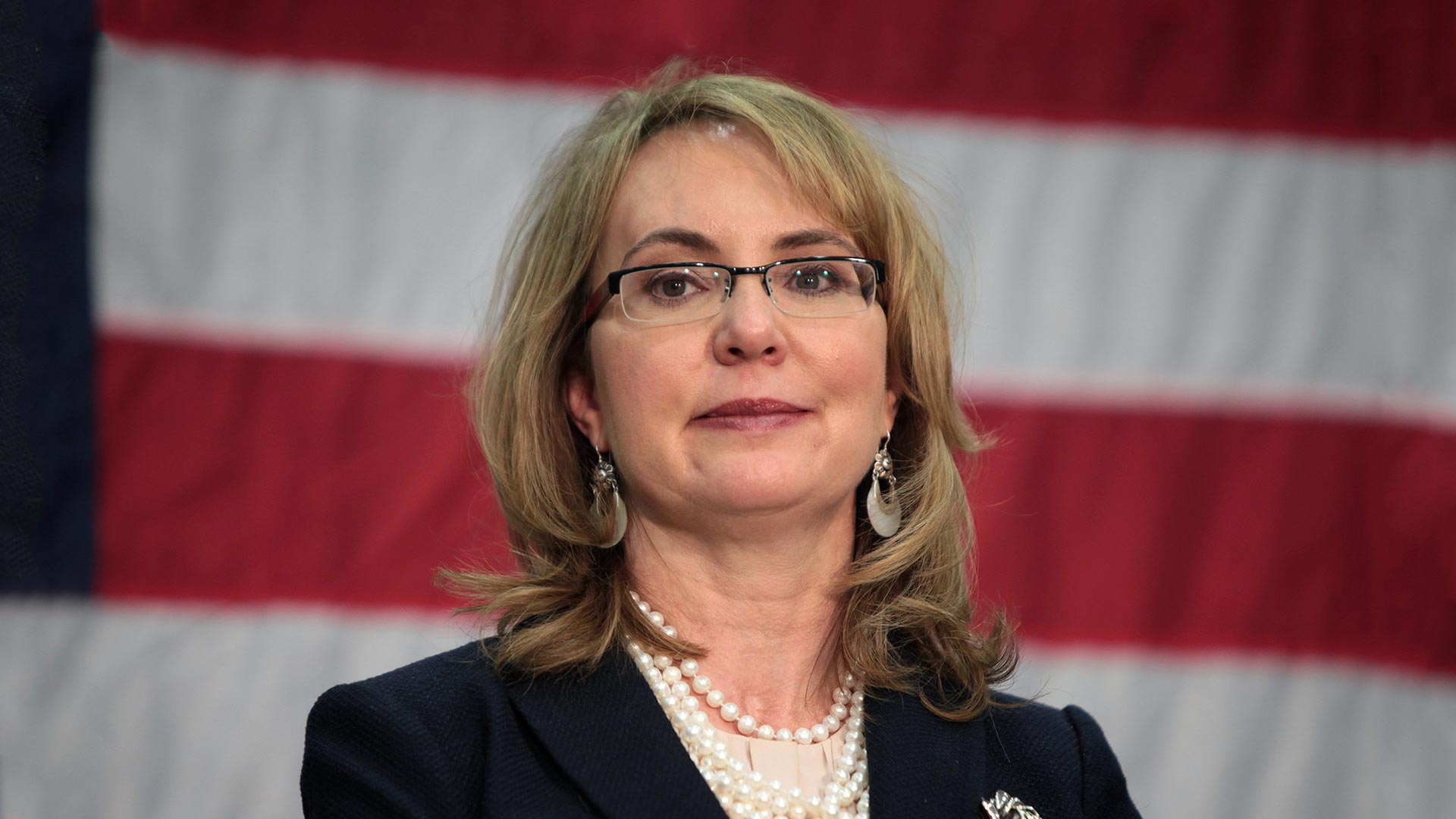 Gabrielle Giffords speaking at an event in Phoenix, Arizona.