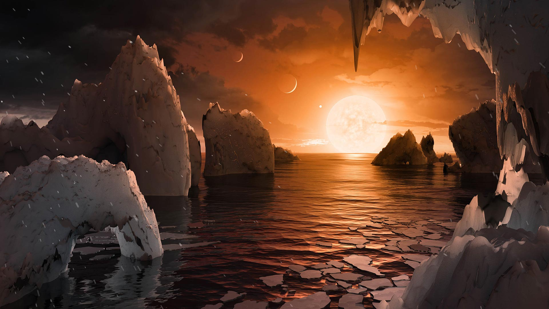 This artist's concept depicts what it would be like to stand on the surface of the exoplanet TRAPPIST-1f, located in the TRAPPIST-1 system in the constellation Aquarius.